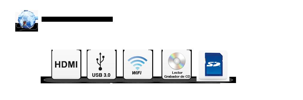 HDMI, USB 3, WIFI, Lector de grabador de CD.